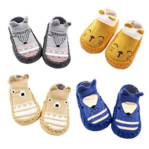 XM-Amigo 4 Paar Baby-Socken-Schuhe, für Jungen und Mädchen, Hausschuhe mit Anti-Rutsch, - Blau Set01 - Größe: 6-12 Monate