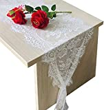 120x14in White Lace Table Runner, Vintage Wedding Boho Table Runner with Floral for Chair Sash, Lace Cloth Runners for Rustic Chic Boho Wedding Reception Table Decor, Candlelight Dinners…