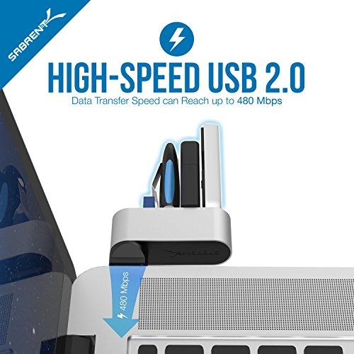 Sabrent USB HUB - Premium 4-Port Mini USB 2.0 Aluminum drehbare Hub [90 ° / 180 ° Grad drehbar] (HB-UMMC)