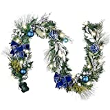 Valery Madelyn Pre-Lit 6 Feet Winter Wishes Blue Silver Christmas Garland with Ball Ornaments, Ribbons and Green Leaves, Battery Operated 20 LED Lights