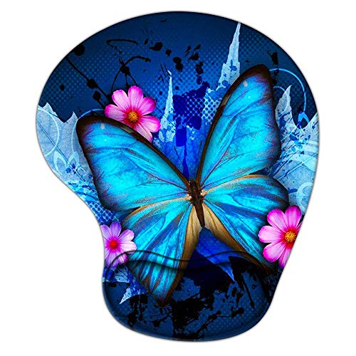 Mouse Pad with Wrist Support, Ergonomic Mousepad Cute Non-Slip Base for Office Desk Supplies Décor Accessories, Large Blue Butterfly Mouse Pads for Women Girls