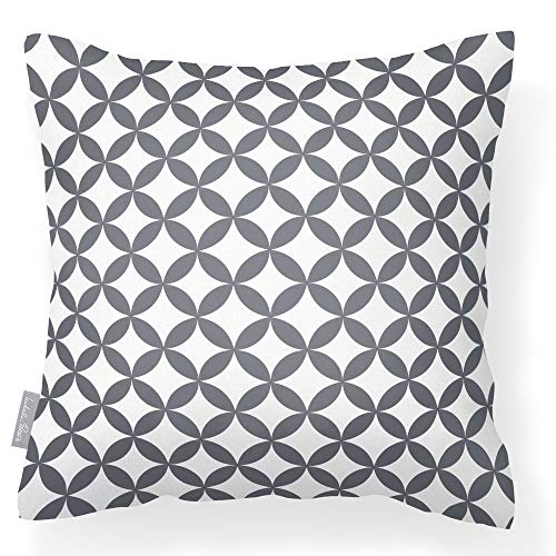 Waterproof Outdoor Garden Cushion in Grey and White - Breathable Fabric - Removable & Washable Cover – Multi-Purpose - From the Marrakech Collection - Designed, Printed & Made in the UK