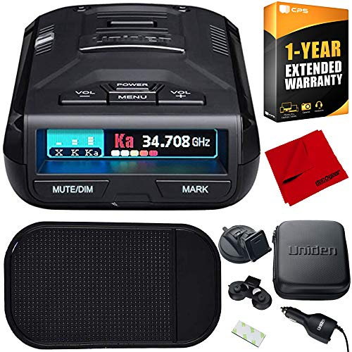 Uniden R3 Extreme Long Range Radar Laser Detector GPS, 360 Degree, DSP, Voice Alert Bundle with Slip-Free Car Mat, 1 Year Extended Warranty and Deco Gear Microfiber Cleaning Cloth