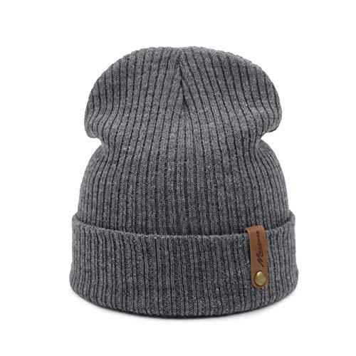 UKKD Damen Wintermütze Frauen Männer Winterhut Strickmützen Für Frauen Hüte Unisex Winterkappe Männer Hut,Grau