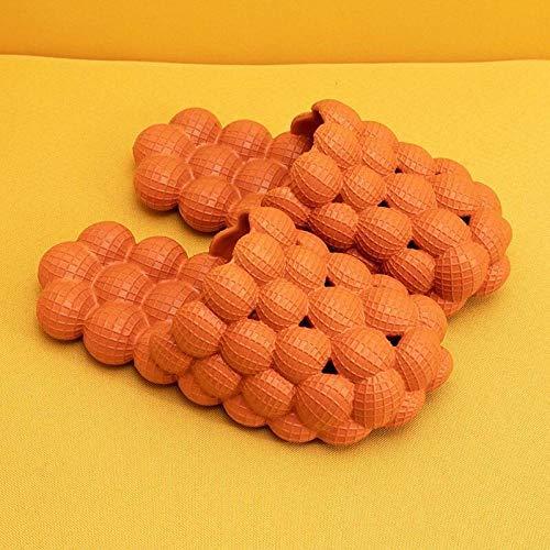 RSVT Zapatillas de Ducha Transpirables,Deslizadores Antideslizantes Suaves de la Burbuja del Fondo, Sandalias de Moda de la Malla del Masaje-Naranja_43,Zapatillas Interior Piso