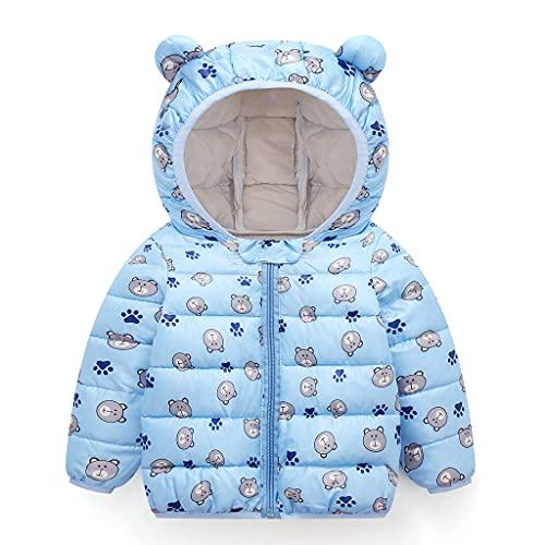 Bebé Invierno Chaqueta Niños Oreja Capucha Abrigo Acolchado CáLido Ligero Niñas Trajes Azul 6-12 Meses