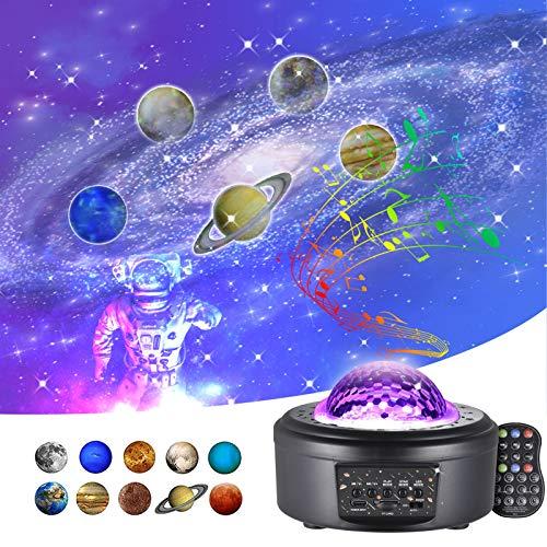 Lámpara Proyector Estrellas Infantil Adultos - Lámpara De Dormir para Bebe, Techo con cable USB con 10 Planetas de Luz Nocturna 360 LED Musical Bluetooth