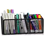 Workablez Magnetic Pencil Holder - 3 Generous Compartments Magnetic Storage Basket Organizer - Extra Strong Magnets - Perfect Mesh Pen Holder to Hold Whiteboard, Locker Accessories (Office Product)