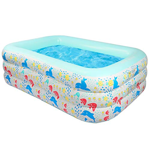 Piscina AONESY grande piscina per bambini gonfiabile all'aperto per bambini, adulti, neonati al coperto, all'aperto, giardino, cortile, festa in acqua estiva (210X140X60CM)