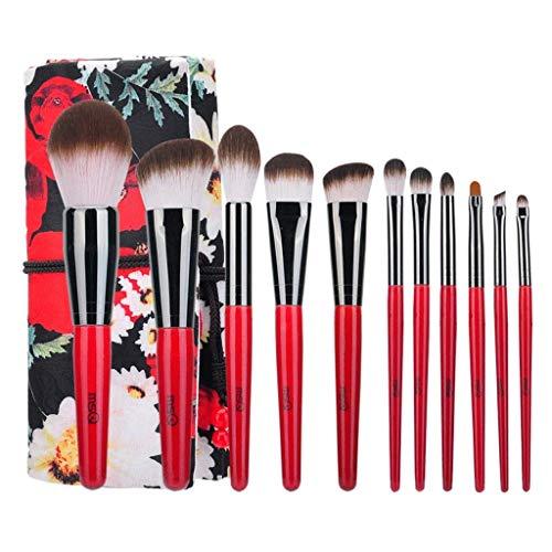 QXX-Make-up Brush Pinceaux de Maquillage Advanced Kabuki Cosmetics Outil Sourcils Lèvres Ombre à Paupières Fondation Brush Elegant (11 Pièces, Rouge Noir)