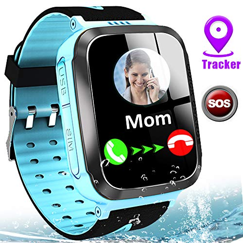 Kids Smart Watch Waterproof LBS Tracker Phone Watches for Boys Girls Age 4-12 with SOS Calling Camera Puzzle Games Alarm Clock LED Flashlight 1.44' Touch Screen Smartwatch Birthday Gift (Black & Blue)