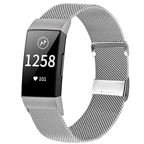Runostrich Metall Uhrenarmband Kompatibel mit Fitbit Charge 4 Armband/Charge 3 Armband, Edelstahl Magnet Sport Ersatz Armband Armb?nder Frauen M?nner f¨¹r Charge 4/Charge 3/SE