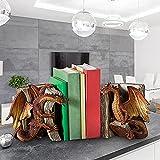CRZJ Sujetalibros Decorativo, un par de Estatua de sujetalibros de dragón de Lucha, Sujetalibros de Escultura de dragón de Lucha de Resina, Manualidades artísticas, para Escritorio de Oficina en casa