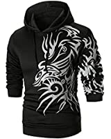 Mens Kung Fu Dragon Printed Long Sleeve Hoodie Pullover Sweatshirt Outwear Tops Black