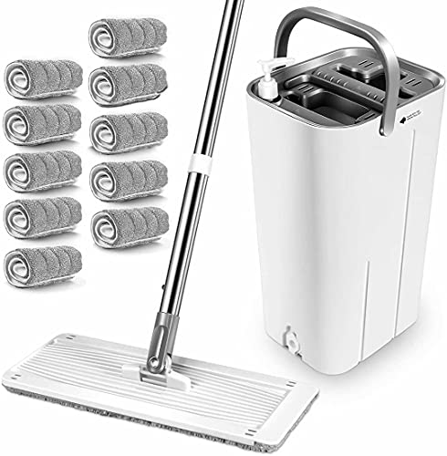 MASTERTOP Mop and Bucket System - Flat Mop and Bucket with Wringer Set, Mops for Floor Cleaning, Hardwood, Laminate, Tiles, Stainless Steel Handle, 10 Reusable Microfiber Mop Pads
