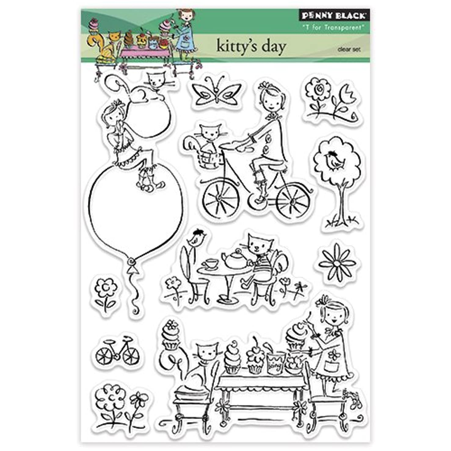 Penny Black Decorative Rubber Stamps, Kitty's Day
