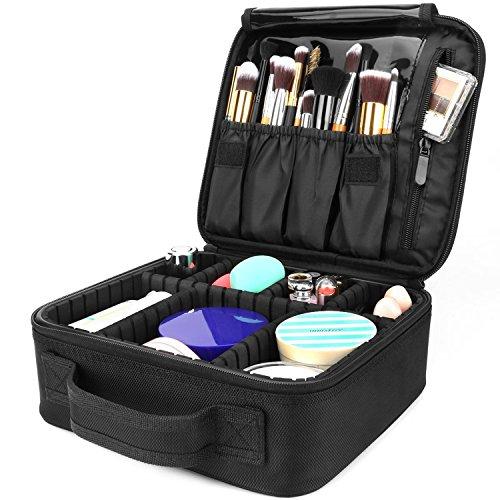 AMASAVA Bolsa de Maquillaje,cosmético para Maquillaje,Bolsa de Almacenamiento,con divisiones extraíbles,26.5 * 11.5 * 23.5 cm, Negro