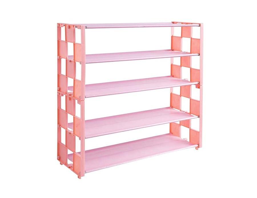 有名なオセアニア男らしさ多層ホームシューズ収納ラック、不織布+ PP +亜鉛メッキ鉄パイプ、インストールが簡単、防水および防塵、大容量収納 (Color : Pink)