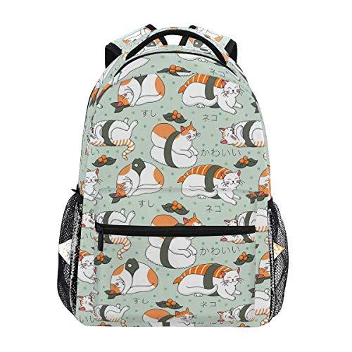 School Bookbag,Kawaii Neko Sushi College School Book Bag Pattern Casual Printed Backpack 40cm(H) x29cm(W)