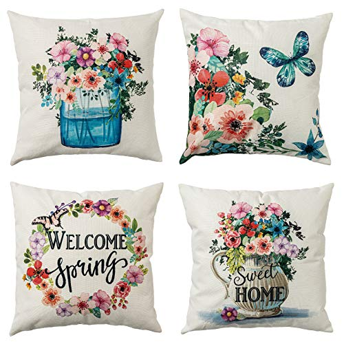 hogardeck Spring Pillow Covers 18x18, Decorative Throw Pillow Covers Set of 4, Sweet Home Burlap Sofa Cushion Covers, Welcome Spring Pillow Case with Wreath, Vase, Spring Decorations for Home