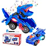 Transforming Dinosaur Toys, Transform Car Toys with LED Light and Music Automatic, Transforming Dinosaur Toys Car for 3 4 5 6 Year Old Boys Girls Christmas Birthday Gifts