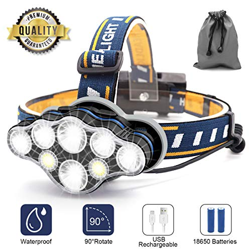 Linterna Frontal, 8 LED 18000 Lumen USB Recargable Linterna Cabeza, Ligero Impermeable Linternas Frontales para Camping, Pesca, Correr, Caza, Deportes Nocturnos