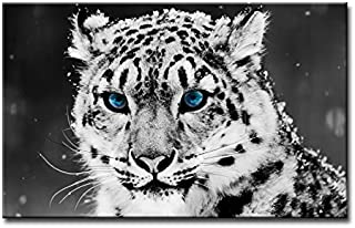 So Crazy Art Black and White Wall Art Painting Blue Eye Snow Leopard Prints On Canvas The Picture Animal Pictures Oil for Home Modern Decoration Print Decor