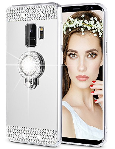 Caka Galaxy S9 Case, Galaxy S9 Glitter Case Mirror Series Luxury Cute Shiny Bling Mirror Makeup Case for Girls with Ring Kickstand Diamond Protective TPU Case for Samsung Galaxy S9 (Silver)
