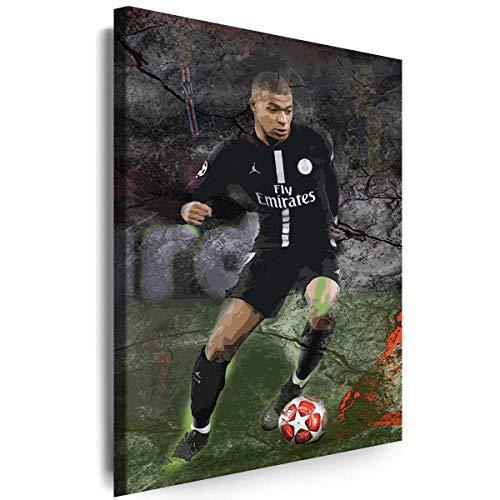 Myartstyle - Bilder Sport Kylian Mbappe PSG FC Fußball 60 x 40 cm Leinwandbilder XXL - 1 Teilige Wandbilder Kunstdrucke w-a-2051-1