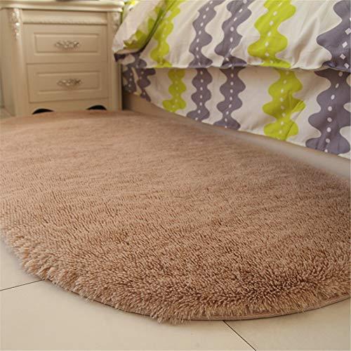 KNJF Alfombras Fluffy Sala de Estar Tabla de café Oval Sofá Sofá Cama de habitación Adecuado para decoración del hogar (Color : Brown, Size : Medium)