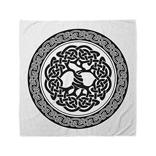 Ambesonne Unisex Bandana, Celtic Native Tree of Life Art, White Black