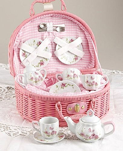 Best Prices! Delton Products Rose Tea Set for 2, Pink