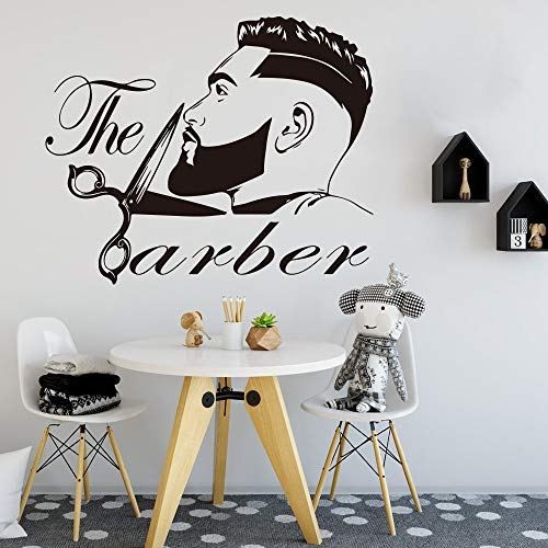 Tianpengyuanshuai Barber shop mannen baard kapsel muursticker modificatie mode kapper kapsel schaar kapper winkel muur sticker