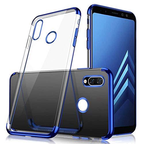 Uposao Compatible avec Coque Xiaomi Redmi Note 7 Transparent Cristal Clair Silicone Gel Coque de téléphone + Glitter Placage Métal Coque Ultra Mince Souple Flexible Bumper Case Housse Etui,Bleu