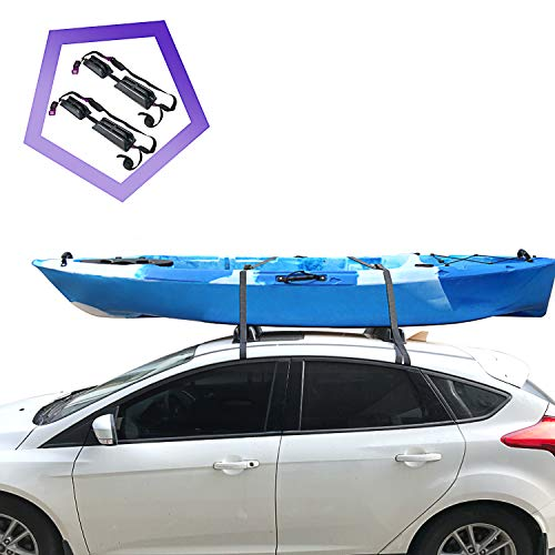 """Onefeng Sports 165LB Kayak Roof Rack, TPE Car Roof Rack Pad with 1.5"""" Width Tie Down Straps for Kayak, SUP & Paddleboards, Easy to Stand&Put on Surfboard on Car Roof for Secure Shipment(1 Pair, Black)"""