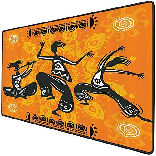 Mauspad-Spielfunktion Afrikanische ations Set Dicke wasserdichte Desktop-Mausmatte Gebürtige afrikanische Tänzerin mit Poly Rhythm Total Body Articulations Design,Multicolor,rutschfeste Gummibasis