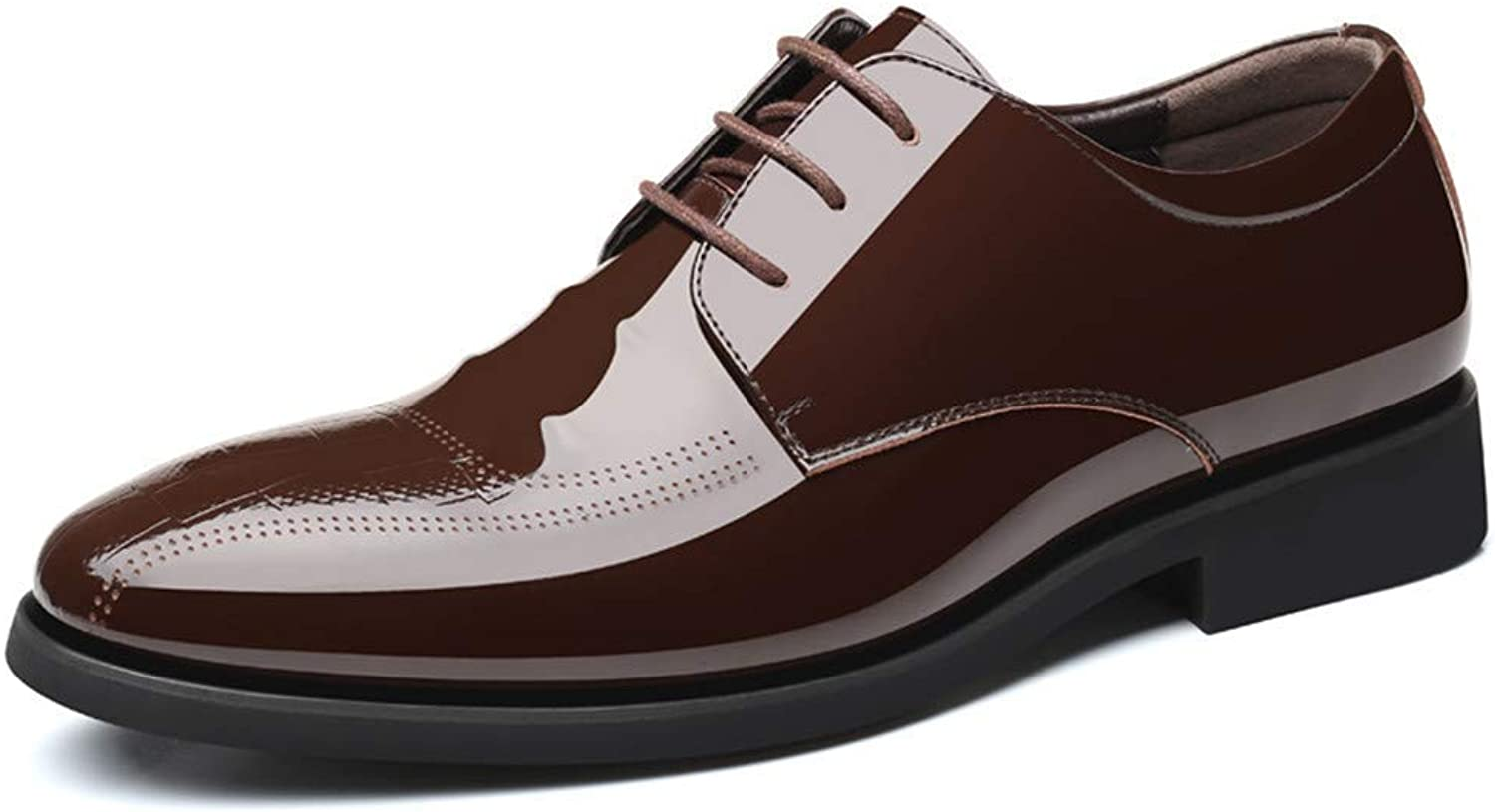 2018 Men Business Oxford Casual Lace-up Style And Foot Style Patent Leather Formal shoes (color  Lace Brown, Size  42 EU) (color   Lace Brown, Size   39 EU)