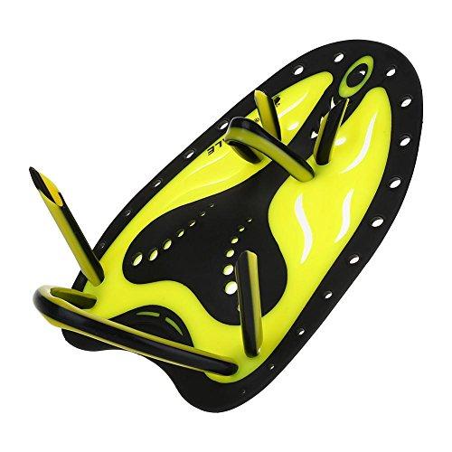 Keenso Schwimmen Tauchen Handflossen, Schwimmtraining Flossen Paddel Schwimmflosse Tauchausrüstung(L-Gelb)