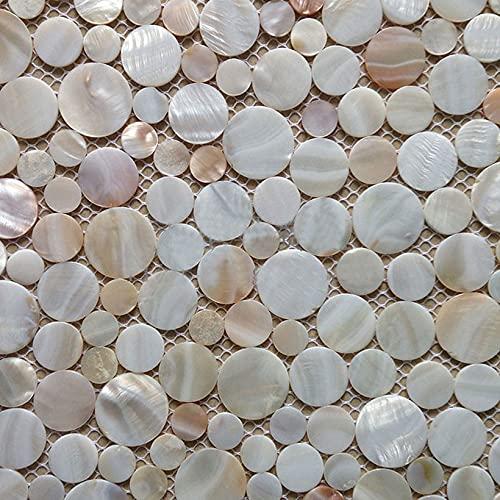Zufällige natürliche Penny Runde Muschel Mosaik Fliesen Perlmutt Küche Backsplash Badezimmer Hintergrund Dusche Wandfliesen