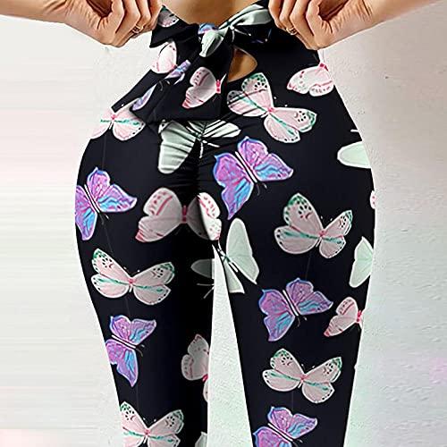ArcherWlh Leggings Push Up Mujer Deporte,Cuerda de Lazo de la impresión Digital Caliente de la Cuerda Apretada de la Cintura Altas Pantalones de Yoga Femenino de la succión de Alto elástico-# 2_SG