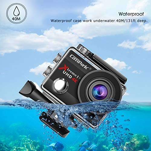 【2021 Upgrade】Campark 4K 20MP Action Camera EIS External Microphone Remote Control WiFi Waterproof Camera Webcam with 170° Wide Angle and 2 Batteries