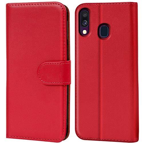 Verco Galaxy A40 Hülle, Handyhülle für Samsung Galaxy A40 Tasche PU Leder Flip Hülle Brieftasche - Rot