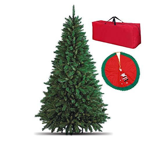 Totò Piccinni Albero di Natale Artificiale, 240 cm (1516 Rami) Borsone e Copribase, FOLTO di ALTISSIMA QUALITA', Effetto Realistico, Rami a Gancio, Facile Montaggio, PVC, Base Metallica, Ignifugo