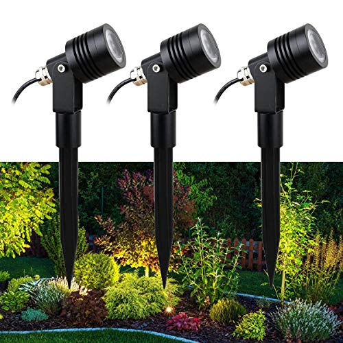 VBLED© 3er-Set 6W Gartenstrahler Second-Edition 3x 400Lumen 3000K warmweiß 12V AC/DC IP68