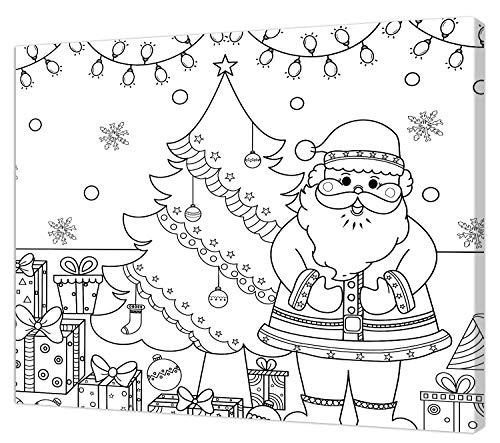 pintcolor 9089 châssis avec toile imprimée à colorier, Wood, blanc/noir, 40 x 30 x 3,5 cm