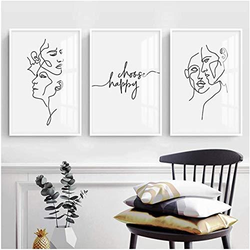 Surfilter Impresión en lienzo Figura abstracta minimalista Carteles e impresiones en blanco y negro Cuadros artísticos de pared Decoración del hogar moderno nórdico 15.7& rdquo; x 19.6& rdquo; (4