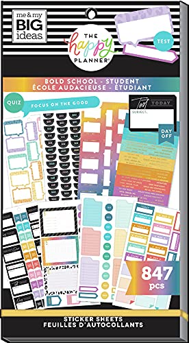 The Happy Planner Sticker Value Pack - Planner & School Accessories - Bold School Student Theme - Multi-Color - Great for Planner & Assignments - 30 Sheets, 847 Stickers