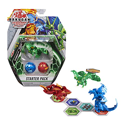 Bakugan Starter Pack mit 3 Geogan Rising Bakugan (Ultra Ventus Fenneca, Basic Pyrus Sharktar, Basic Aquos Dragonoid)