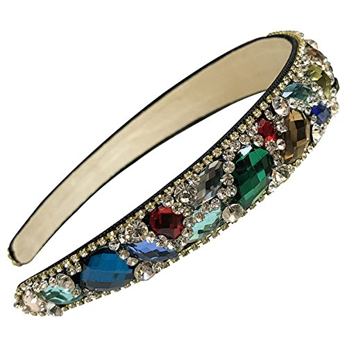 Numblartd Handmade Luxury Irregular Sparkle Crystal Rhinestone Wide-edge Headband Hair Hoop Band - Fashion Hair-Band Headwear Accessories for Women Lady Girls (Colorful)