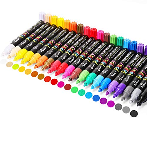 Paint Pens , Emooqi 20 Pack Paint Markers Oil-Based Painting Marker Pen Set for Rocks Painting, Wood, Fabric, Plastic, Canvas, Glass, Mugs, DIY Craft, Waterproof , Write On Anything